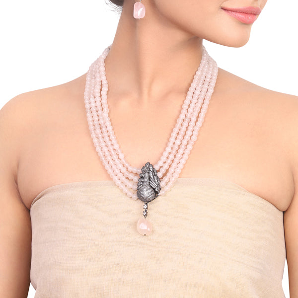 Silver Plated Samastham Rose Quartz Zircon Peacock Necklace Set