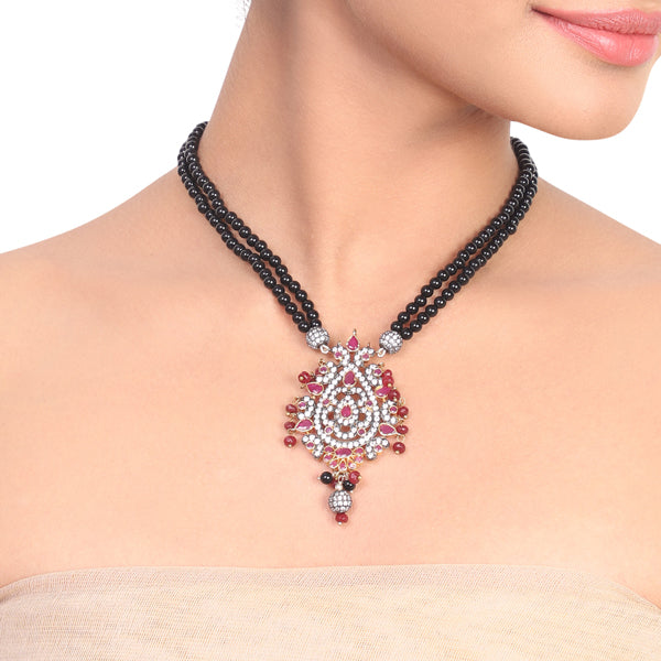 Silver & Gold Plated Samastham Ruby Black Victorian Necklace Set