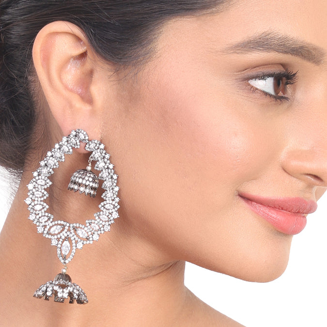 Silver Plated Kundala Zircon Chandelier Earrings