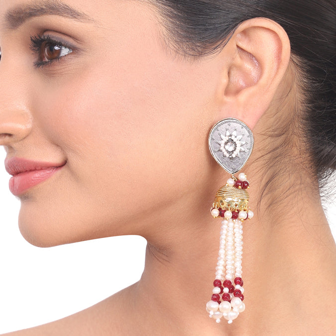 Gold & Silver Plated Kundala Pearl Tassel Jhumki Earrings