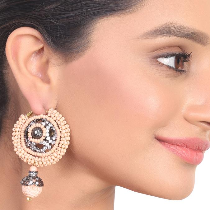 Gold & Silver Plated Kundala Pink Zircon  Earrings