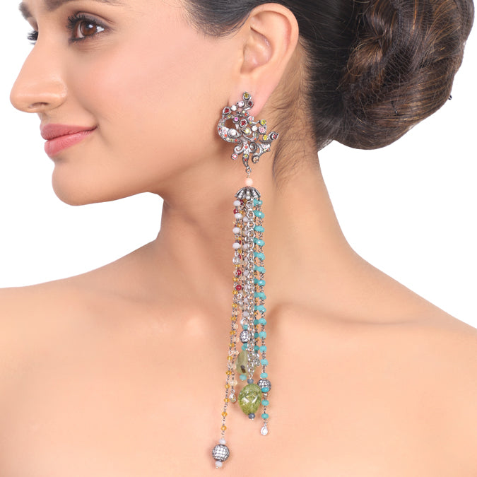 Silver Plated Kundala Peacock Tassel Earrings