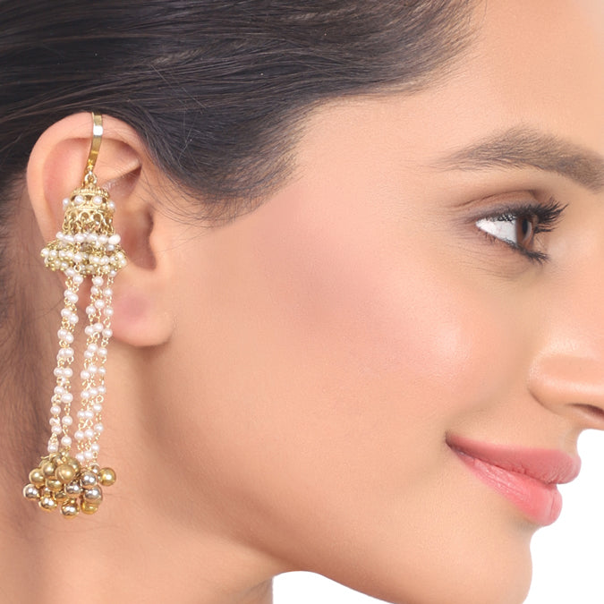 Gold Plated Kundala Bugdi Tassel Earrings