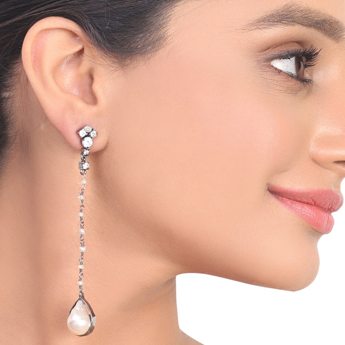 Silver Plated Kundala Zircon Pearl Earrings