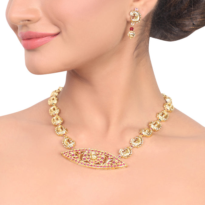 Gold Plated Samastham Peacock Necklace Set