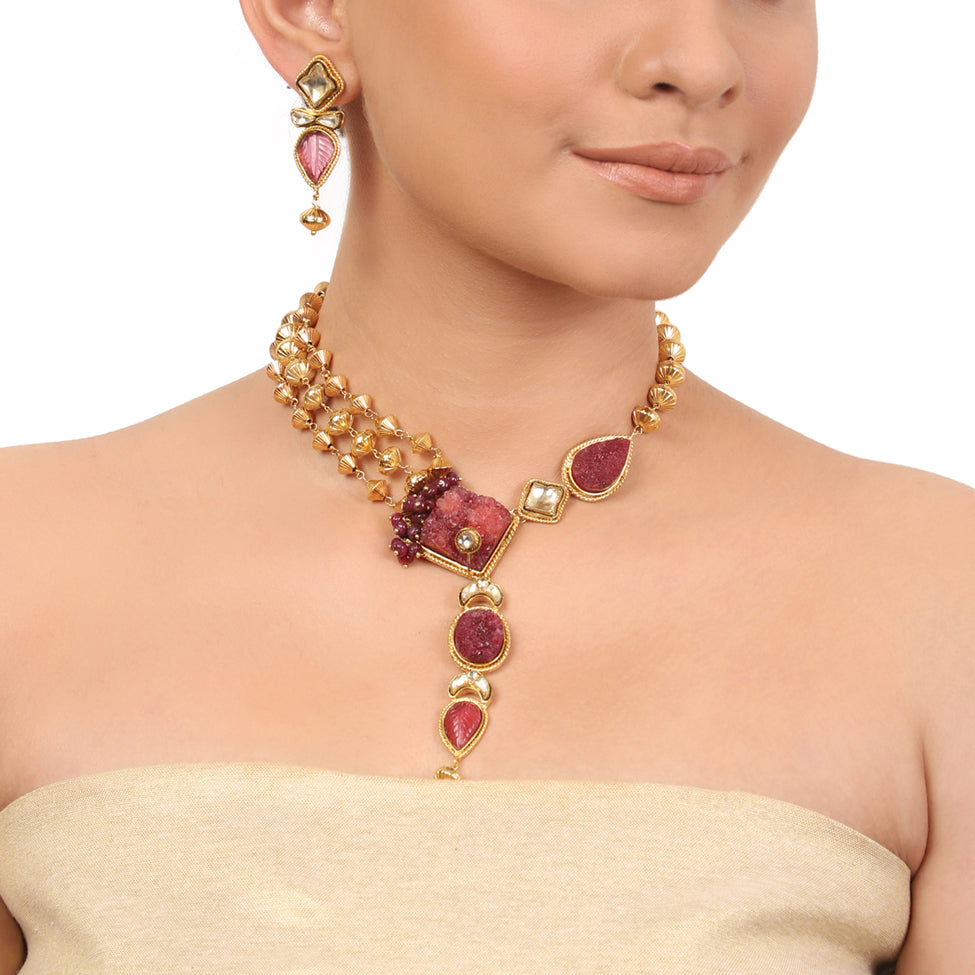 Gold Plated Taraash Tourmaline Gold Ball Necklace Set