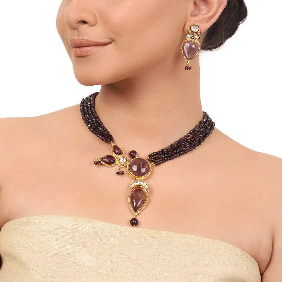 Gold Plated Taraash Amethyst Necklace Set