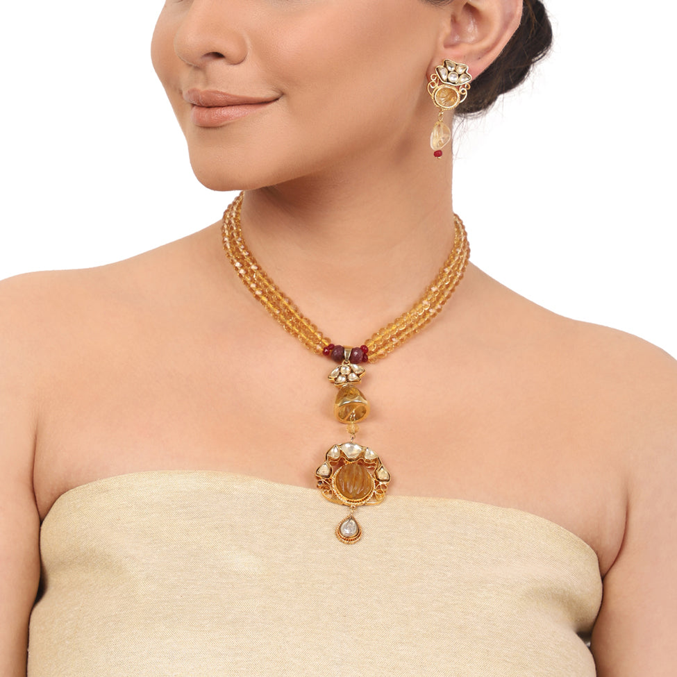 Gold Plated Taraash  Lemon Quartz Kundan Necklace Set