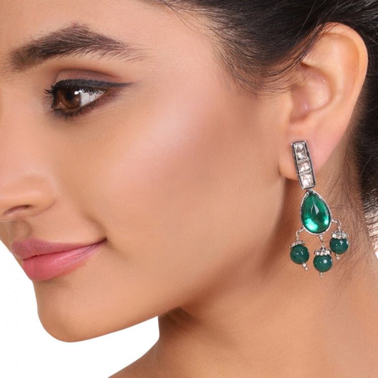 SILVER PLATED TEEJ GREEN EARRINGS