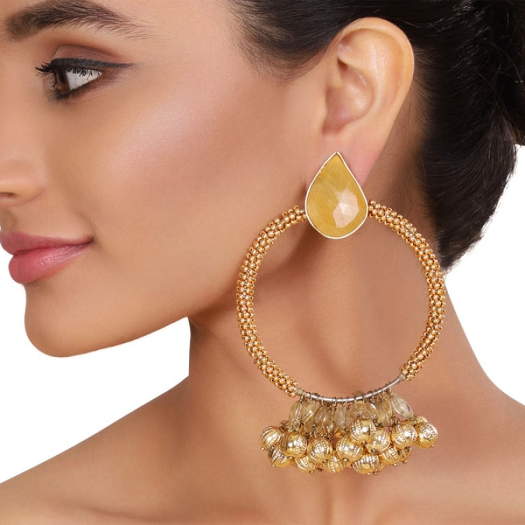 GOLD PLATED SHRUTIPAT GOLD CITRINE HOOP EARRINGS