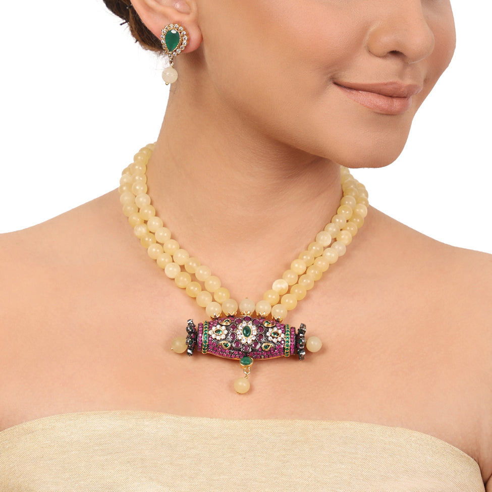 Gold Plated Taraash Lemon Zircon Necklace Set