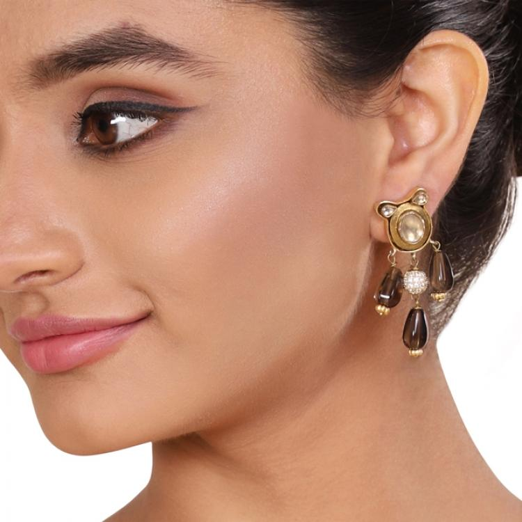 GOLD PLATED SHRUTIPAT SMOKEY DROPS KUNDAN EARRINGS