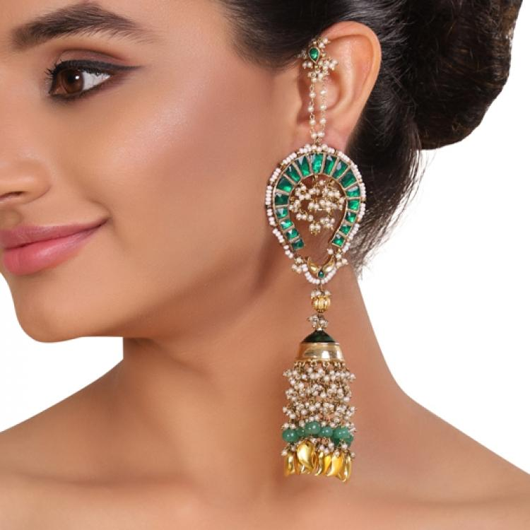 GOLD PLATED TEEJ GREEN KUNDAN EARRINGS