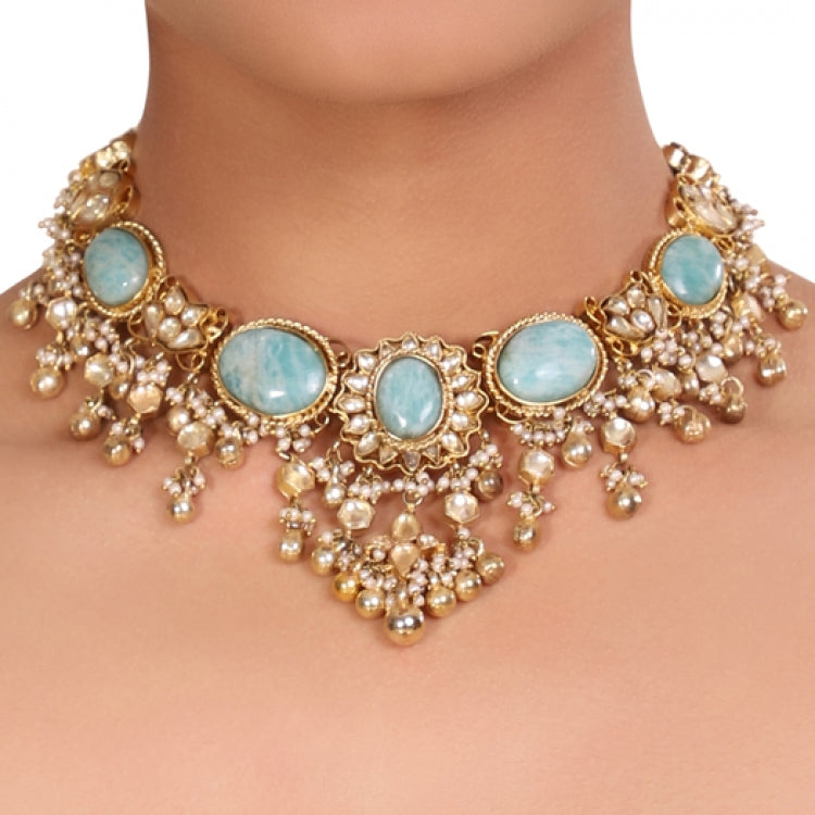 GOLD PLATED TEEJ BLUE KUNDAN NECKLACE