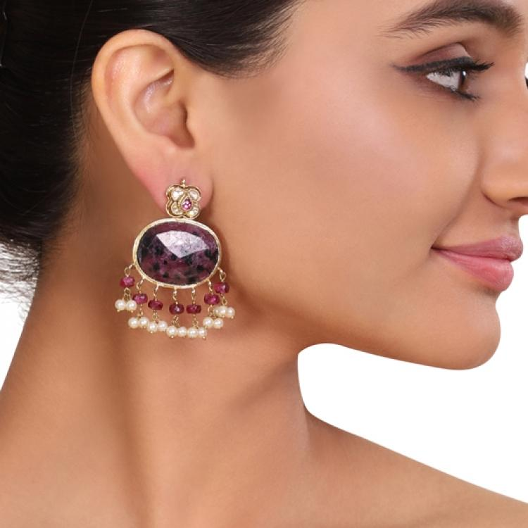 GOLD PLATED TEEJ PURPLE KUNDAN EARRINGS