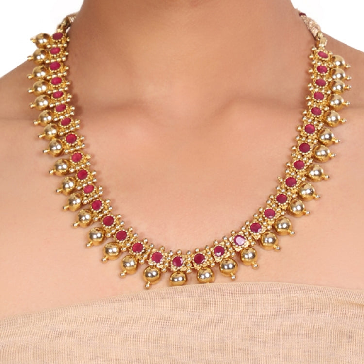 GOLD PLATED TEMPLE RUBY NECKLACE
