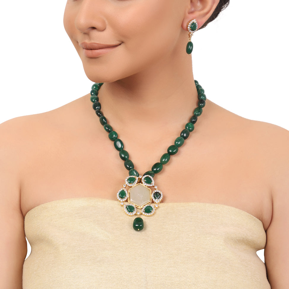 Gold Plated Taraash Green Onyx Zircon Necklace Set