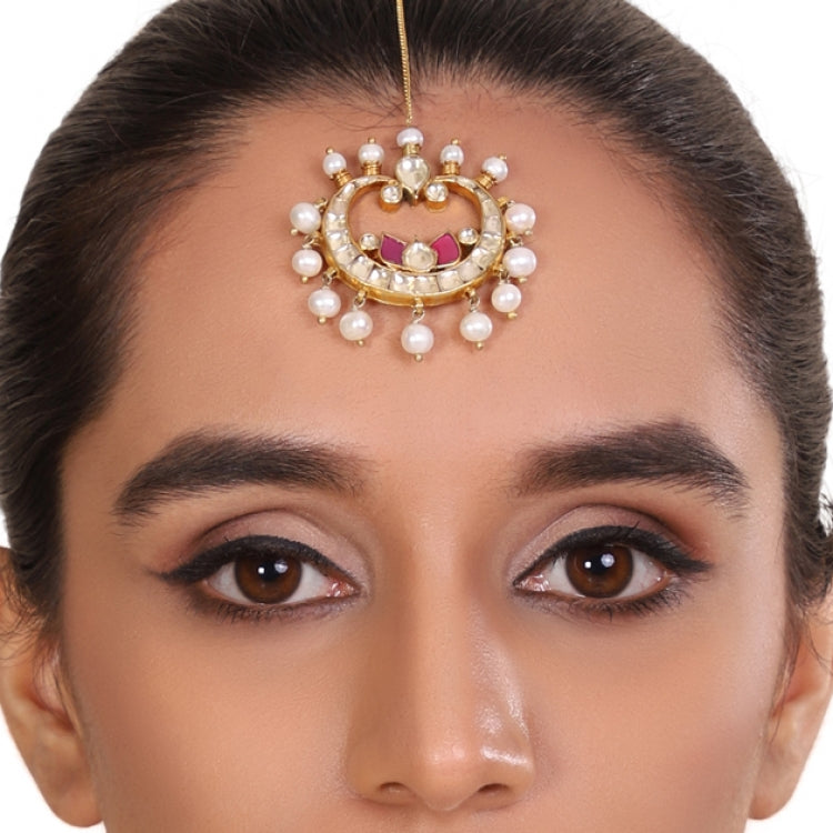 GOLD PLATED LOTUS RED WHITE KUNDAN  TIKA
