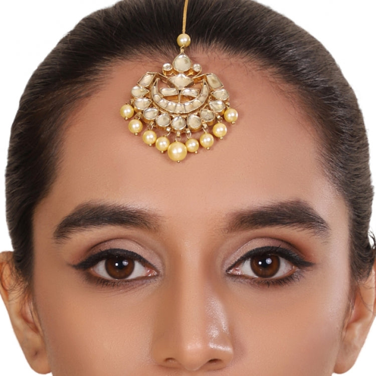 GOLD PLATED LOTUS WHITE KUNDAN  TIKA