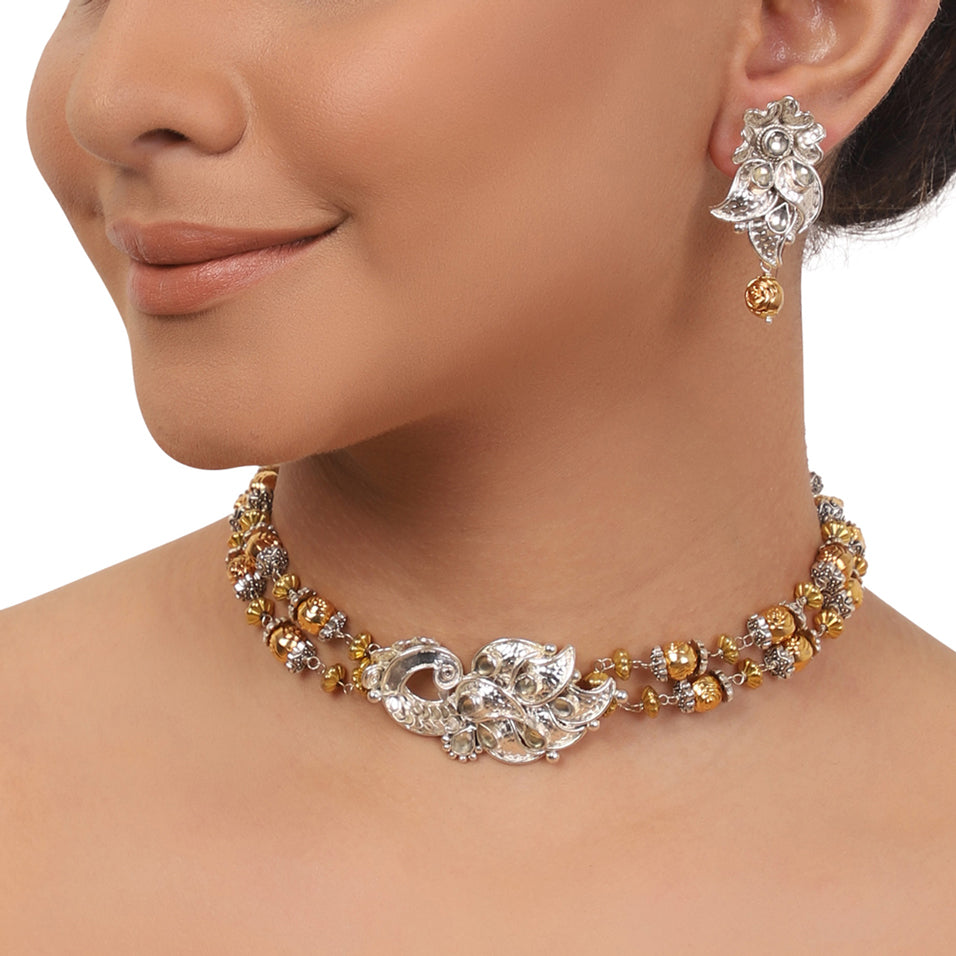 Silver Plated Ganga Jamuna Peacock Choker Necklace Set