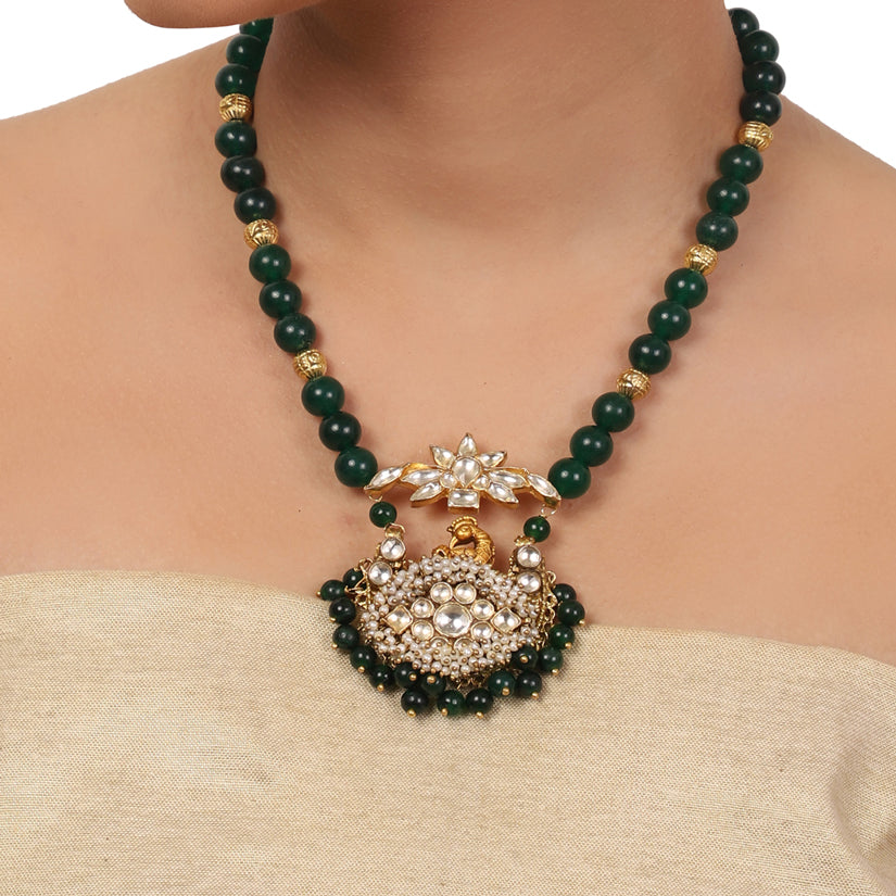 Gold Plated Valentine Green Kundan Peacock Necklace Set