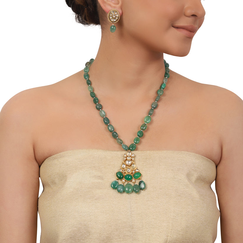 Gold Plated Valentine Kundan Green Necklace Set