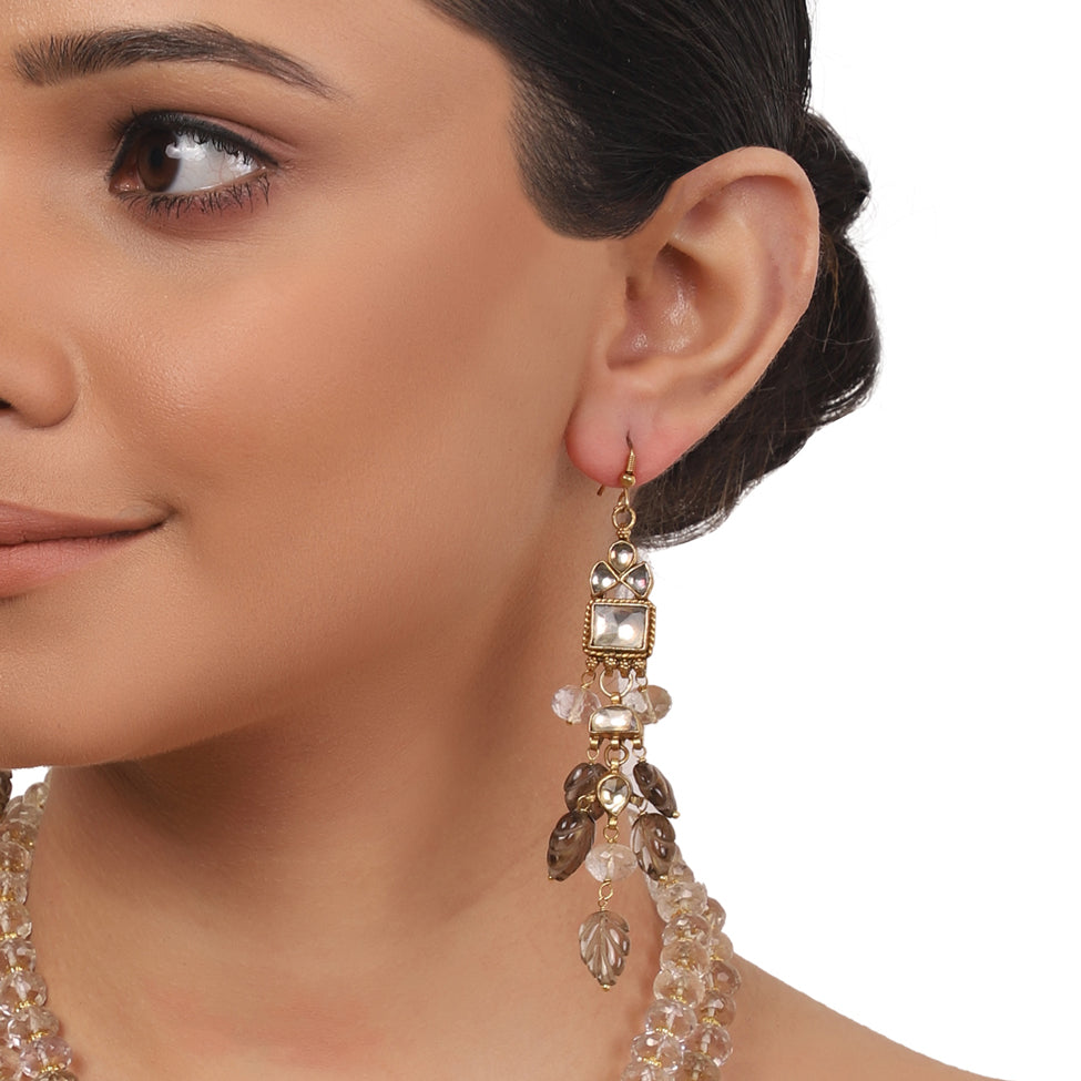 Gold Plated Taraash Rock Crystal Necklace Set