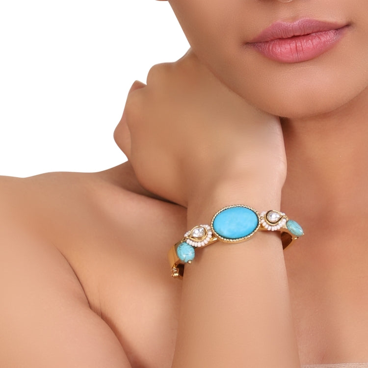 GOLD PLATED HASTHAM TURQUOISE KUNDAN BANGLE