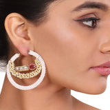 GOLD PLATED SHRUTIPAT PEARL KUNDAN HOOPS