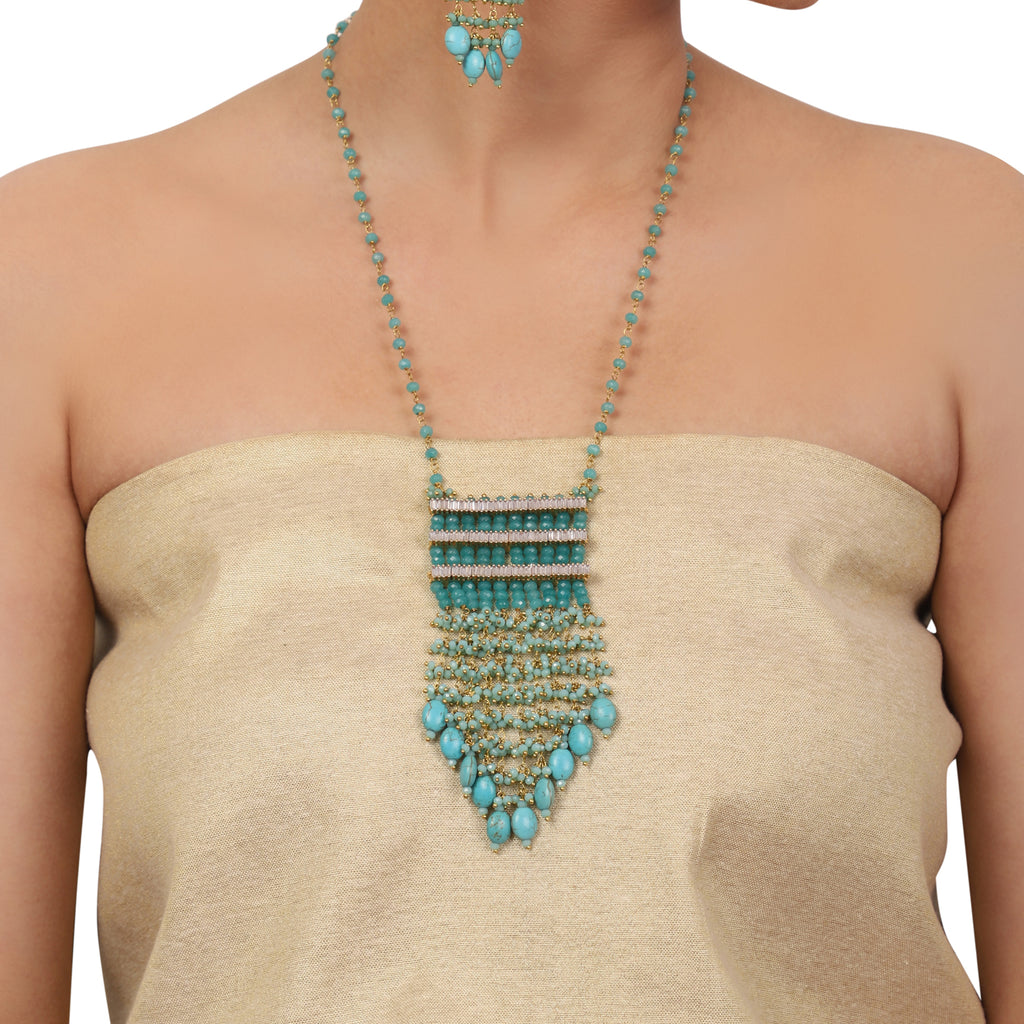 Gold Plated Valentine Zircon Turquoise Necklace Set