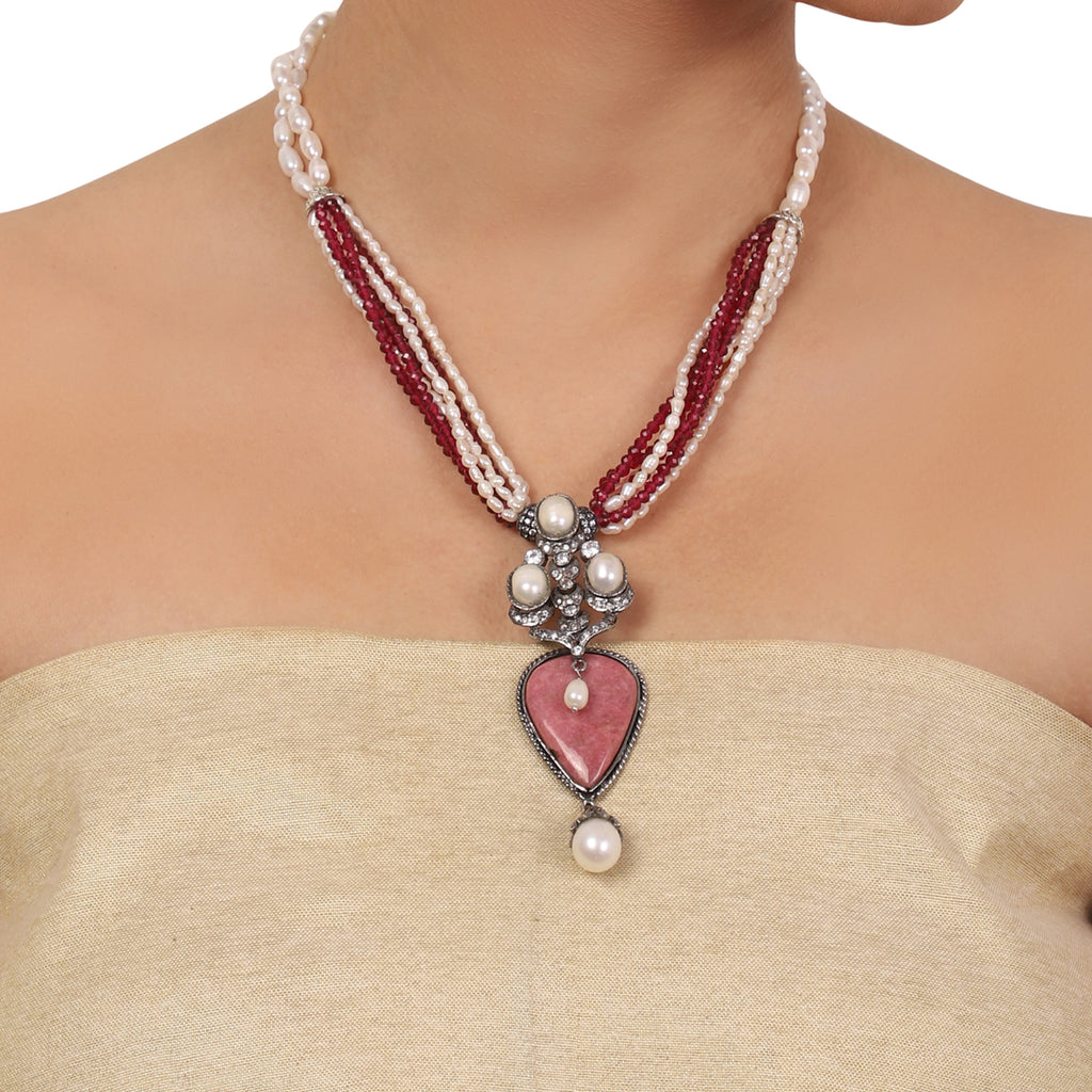 Silver Plated Valentine Victorian Necklace Set