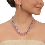 Silver Plated Valentine Zircon Necklace Set