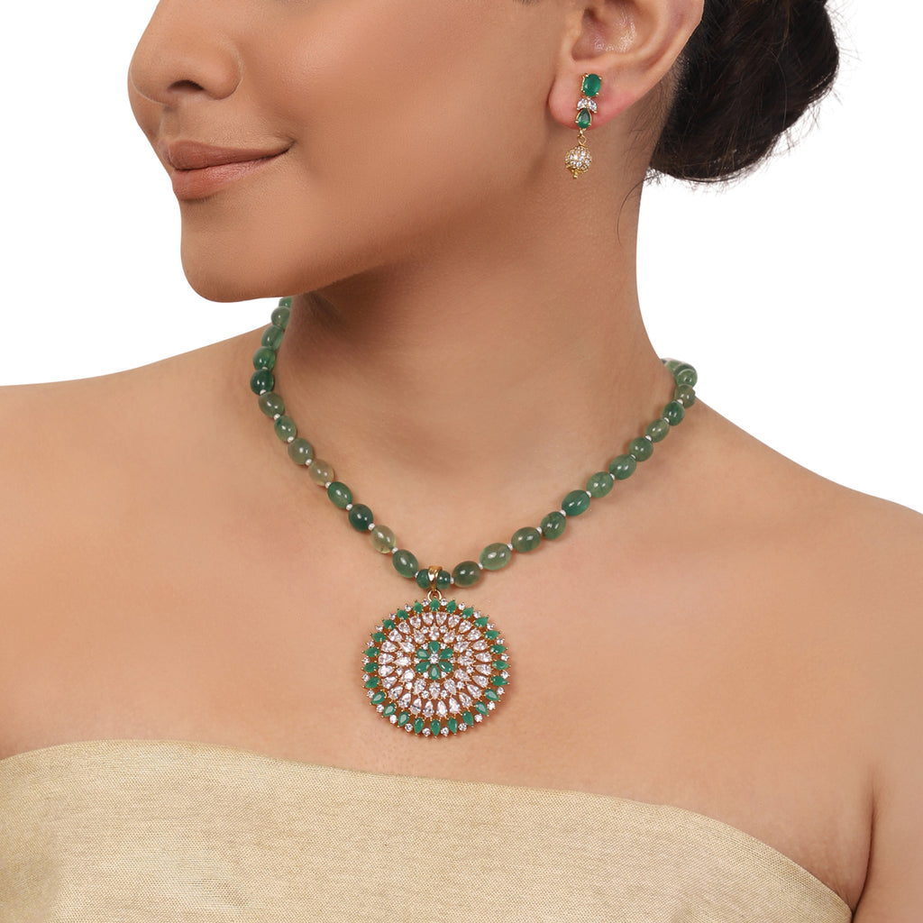 Gold Plated Valentine Zircon Green Onyx Necklace Set