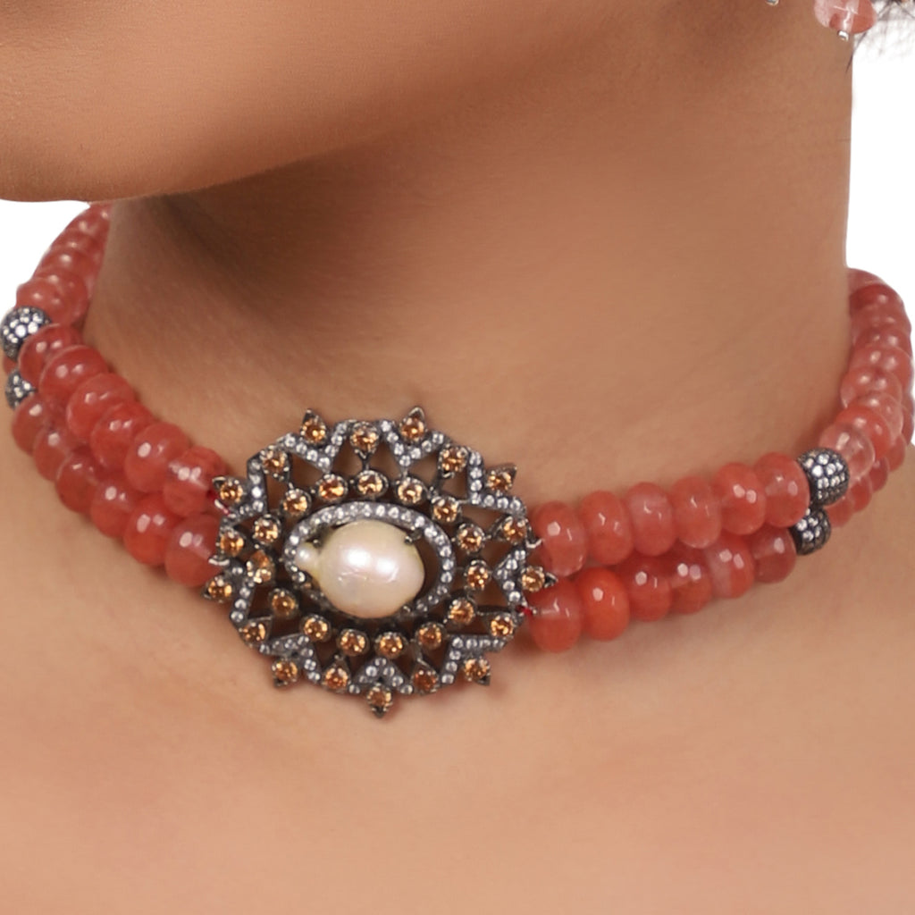 Silver Plated Valentine Victorian Pink Choker Set