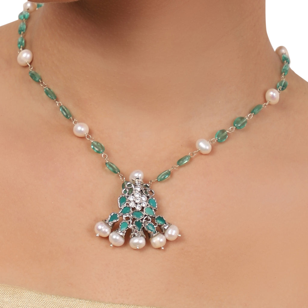 Silver Plated Valentine Green Necklace Set