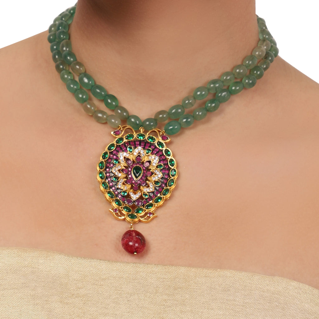 Gold Plated  Valentine Ruby Zircon Necklace Set