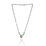 GOLD PLATED MANGAL GREEN RED MANGALSUTRA