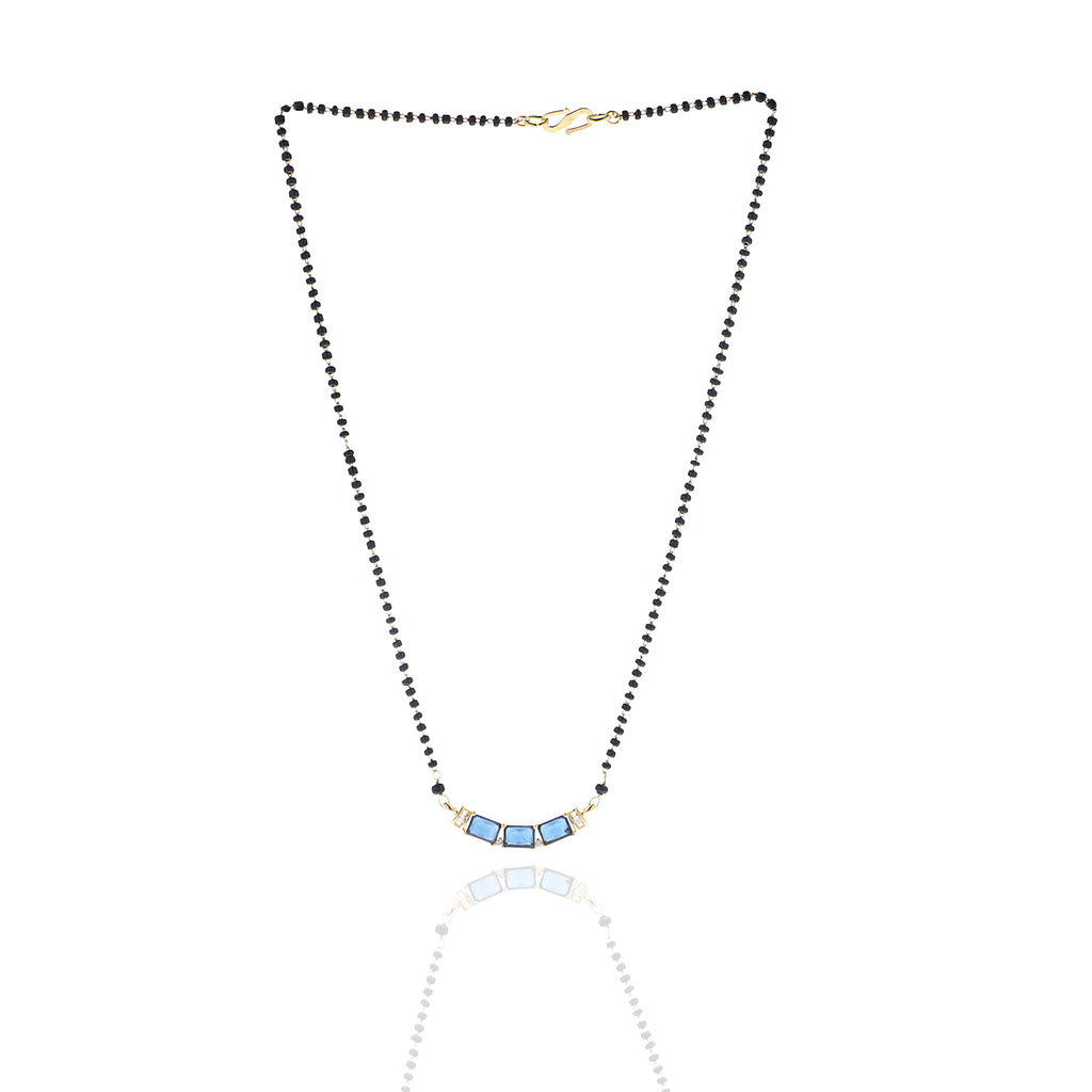 GOLD PLATED MANGAL BLUE ZIRCON MANGALSUTRA SET