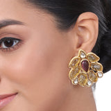 Gold Plated Kundala Kundan Citrine  Earring