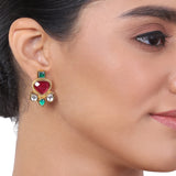 Gold Plated Kundala Kundan Ruby Earring