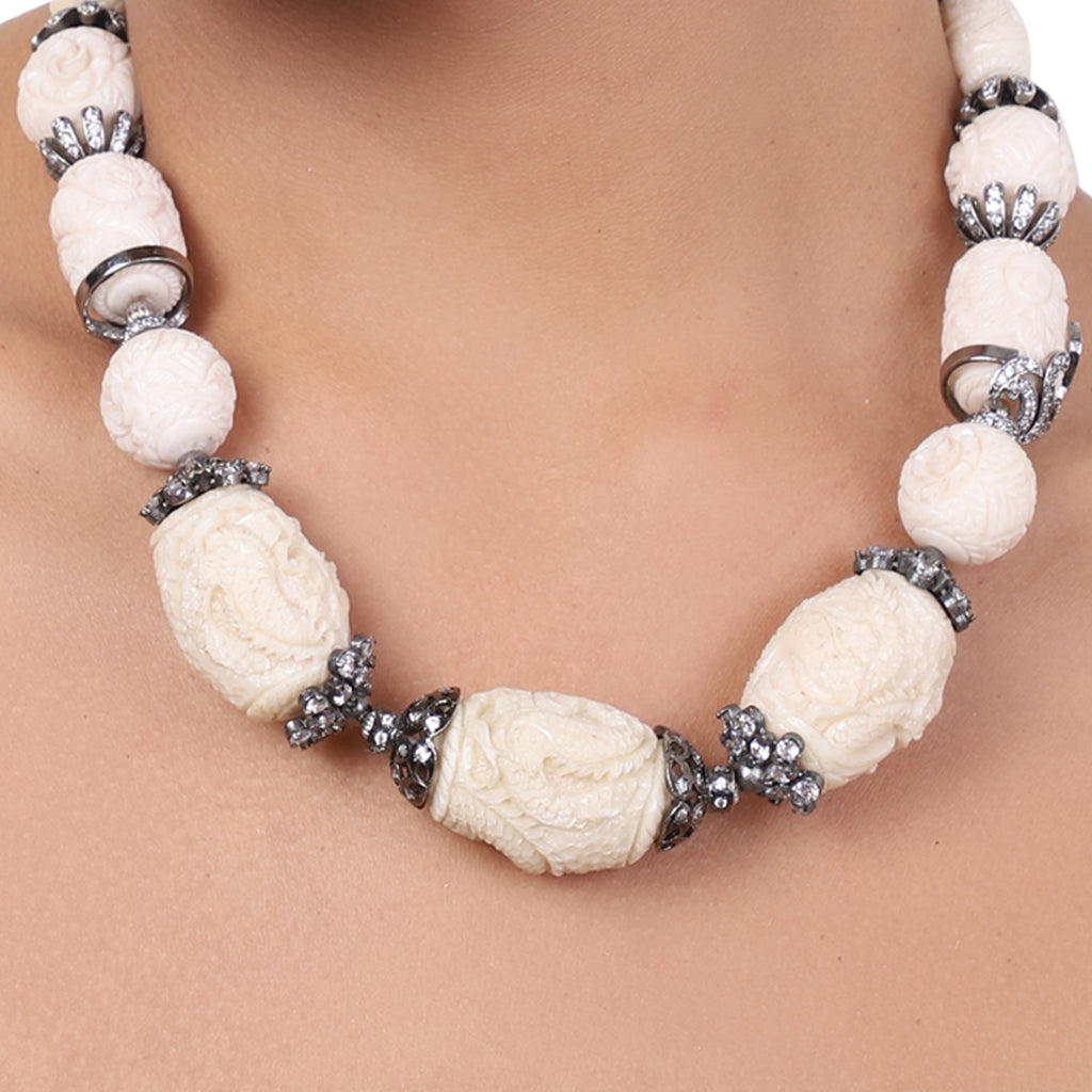 Silver Plated Baisakh Zircon Carved White Coral Necklace Set