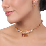 Gold Plated Baisakh Champagne  Choker  Set
