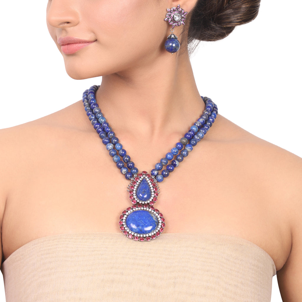 Silver Plated Manihaar Lapiz Necklace Set