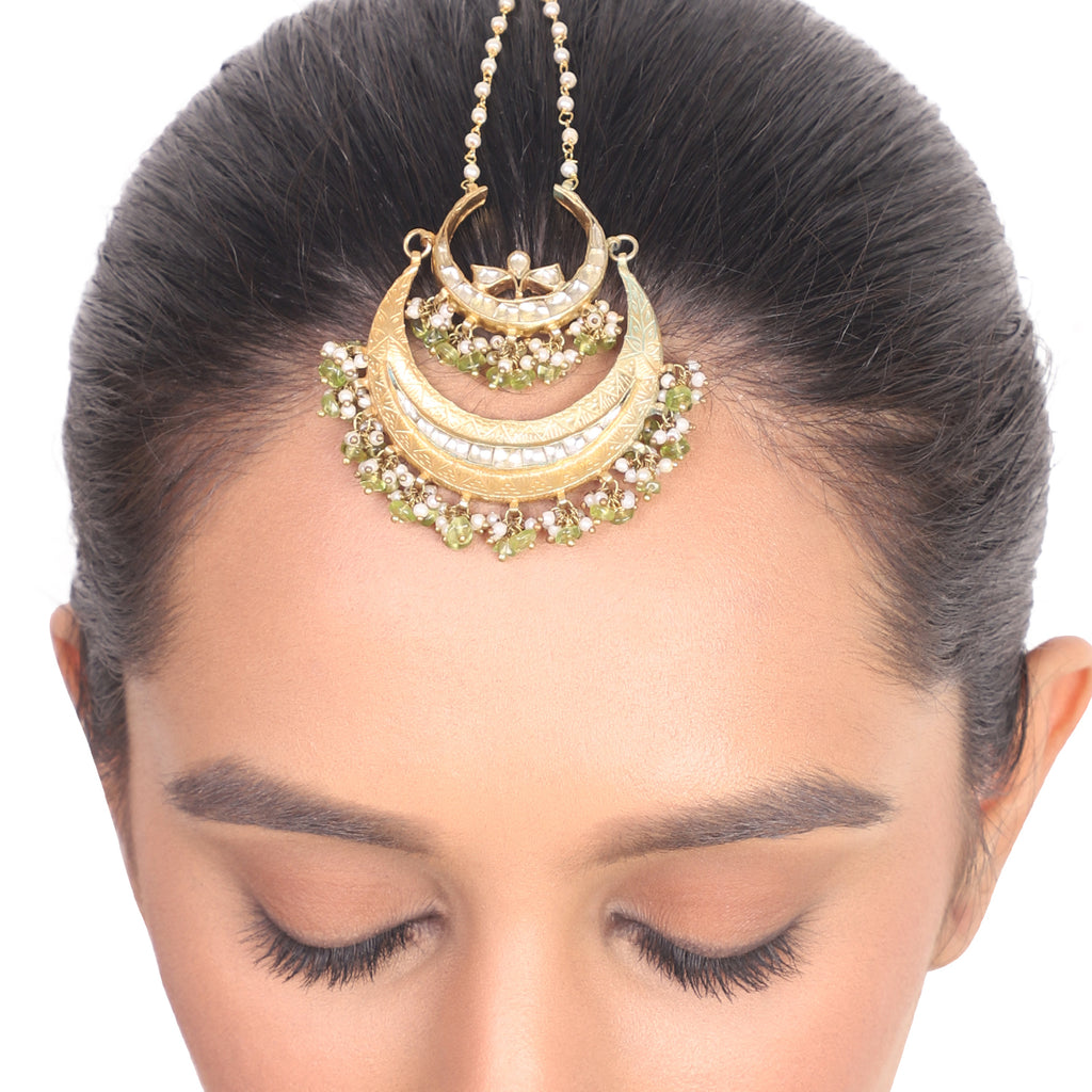 Gold Plated Vivaah Kundan Chand Tikka