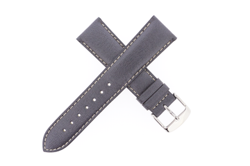 21mm Leather Metallic Gun Metal Grey W/ Contrast Stitch