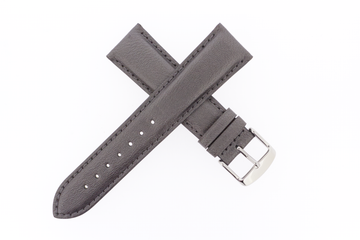 21mm Leather Metallic Pewter Grey