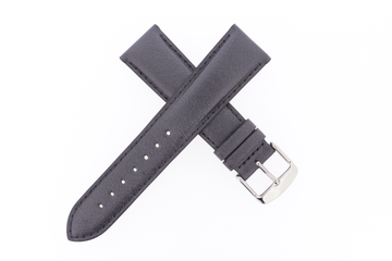 21mm Leather Metallic Gun Metal Grey