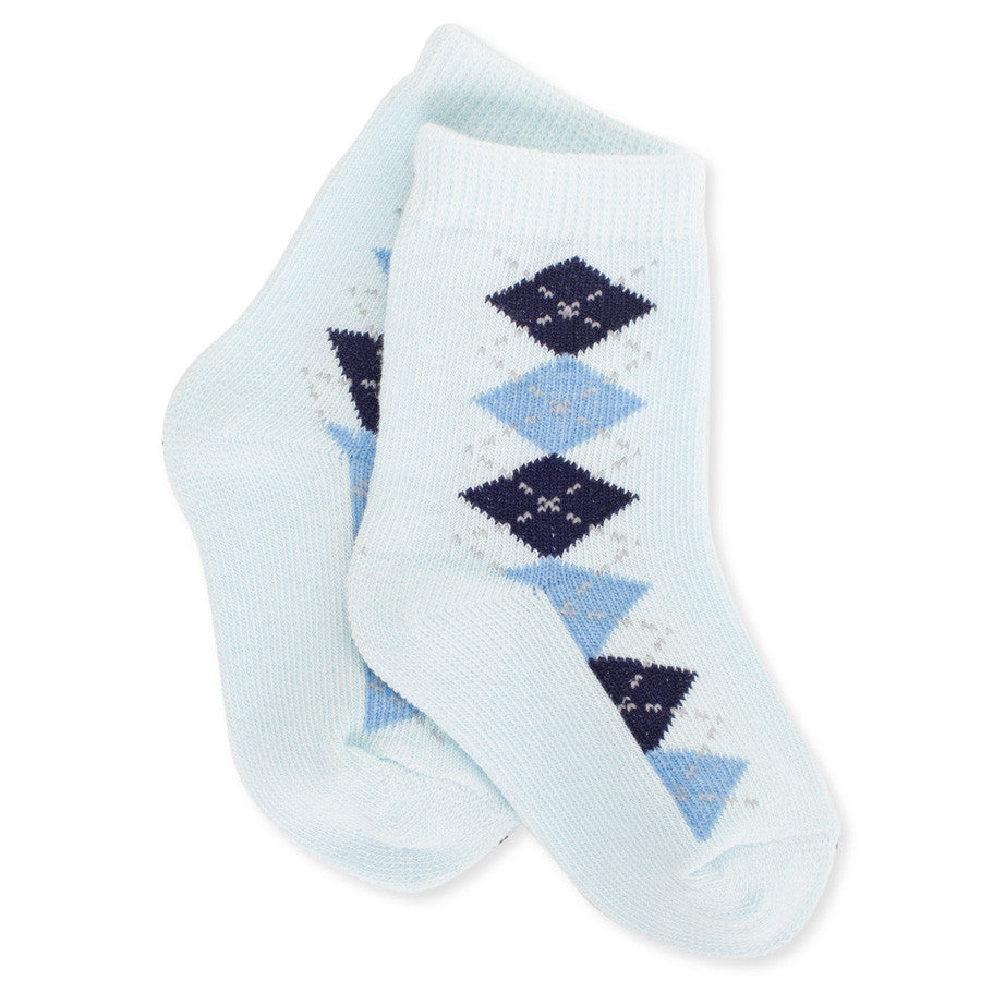 Light Blue + Navy Blue Diamond Pattern Socks