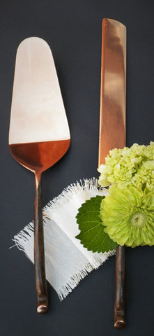 Hand-Forged Stainless Steel Cake Server Set, Copper Finish