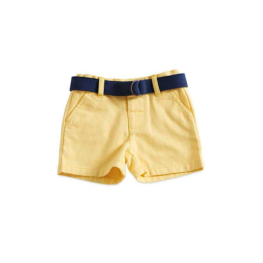 100% Soft Cotton Twill Short with Navy Belt